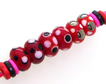 Handmade Lampwork Glass Beads - 3 pairs. Dotties on red with pink, black & silver black. Stacked dots. Earring pairs. Valentines Day.