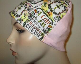 Christian Theme  Flannel Sleep Cap, Cancer Cap, Alopecia , Chemo Hat Religioius hat