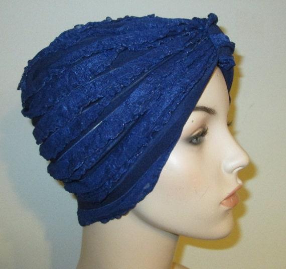 Ruffled Navy Blue Stretch Turban, Chemo Hat, Cancer Turban, Womens Hat