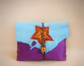 deerskin leather wallet >> MARDI GRAS << business card holder, Leather Pouch, medicine man bag, Magic Bag, small tarrot bag