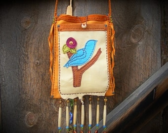 Reserved/Reserved/ ODE TO LEON Russell 2 pocket deerskin leather crossbody Purse, Brown leather Bag, medicine bag, hippie attire, Bluebird