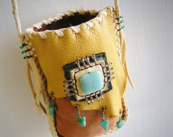 POWER WITHIN medicine bag, Amazonite, Cell Phone bag, neck pouch, Spirit Pouch, shaman tribal new age, Deerskin Pouch