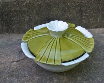 vintage mid century avocado and white california pottery lazy susan bowl dip bowl with lid calif