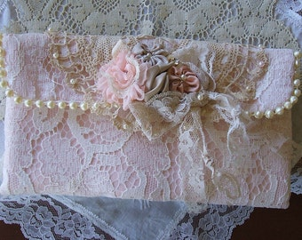 Romantic,Small Evening Clutch, All Hand Made,Satin, Laces, Handsewn Faux Pearls,Doily, Handmade Bag, Purse, Victorian,Rhinestone & Pearls