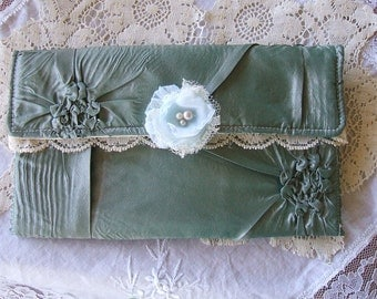 Romantic,Small Evening Clutch, All Hand Made,Puckered Satin, Laces, Handsewn Faux Pearls,Chiffon Roses, Handmade Bag, Purse, Victorian,