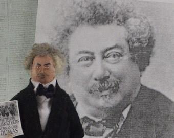 French Author-  Alexandre Dumas-  Miniature Author Doll-  Unique Art-  Classic Literature
