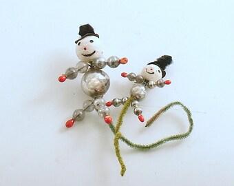 Vintage Christmas Ornaments Glass Bead Snowman Picks Package Tie Ons Snowmen Ornaments