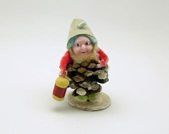 Vintage Pine Cone Gnome Pinecone Elf Lantern Christmas Ornament