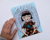 Calendar 2017 - Frida Kahlo - illustration - 8x6 - wall calendar - Cara Carmina