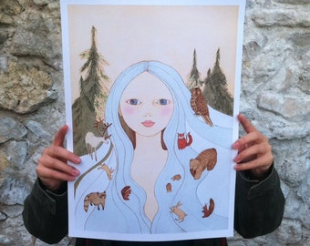 "Large print of Forest girl A3 format 11""x16"" /28x35cm/"