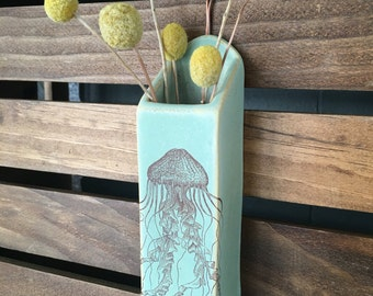 Green Stoneware Jellyfish Hanging Wall Vase