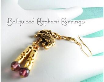 Bollywood Boho earrings | elephant gold earrings | long earrings