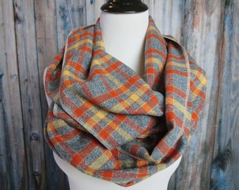 Autumn Scarf - Pumpkin Plaid Scarf - Orange Plaid Scarf -Mustard Scarf - Gray Flannel Scarf - Plaid Infinity Scarf - Circle Scarf