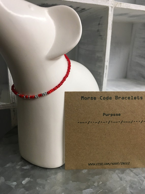 Purpose, Morse Code Stretchy Bead Bracelet - Pick your color