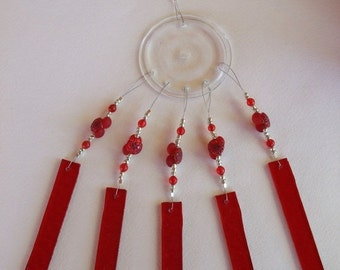SALE SALE SALE Red Berries Windchime Suncatcher Stained Glass Small