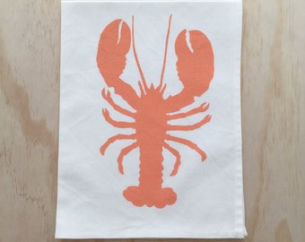 Tea Towel - Hand Printed Lobster