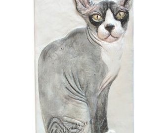 Hairless Cat Tile CERAMIC Portrait Sculpture 3d Art Tile Plaque FUNCTIONAL ART by Sondra Alexander In Stock