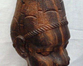 Original Ethnic Carved West Central African Tribal Wooden Head Statue Lamp