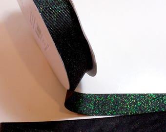 Black Ribbon,  Black Glitter Grosgrain Ribbon 7/8 inch wide x 25 yards, Offray Glitter Grosgrain Ribbon