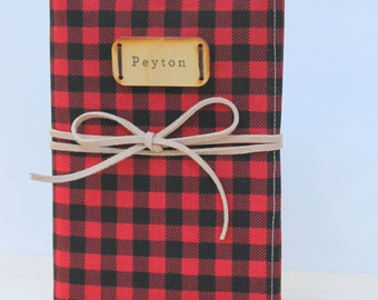buffalo plaid rustic personalized gift photo album with leather