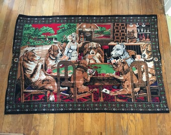 Dogs Playing Poker - Vintage Tapestry - Quirky - Man Cave - Wall Hanging