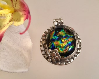Cosmos and Cubes - Fine Silver and Glass Pendant