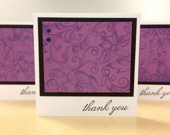 Bulk Wholesale Gift Cards Set of Fifty 50 Handmade Shop Store Purple Floral Thank You Office Teacher All Occasion Greeting Free Shipping