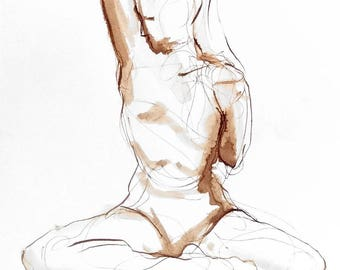 Yoga Drawing - Stretch - Ink on Paper -  Yoga Wall Art