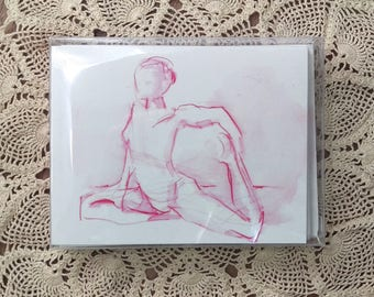 Yoga Notecards with Envelopes, Pink Pigeon Pose Yoga Drawing, Boxed Set of 10 Cards, Gift for Yogi, Yoga Teacher Gift, Mind-Body-Spirit