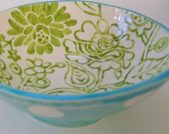 Whimsical pottery Serving Bowl light aqua turquoise w/ white polka-dots and lime green hand-painted floral print inside