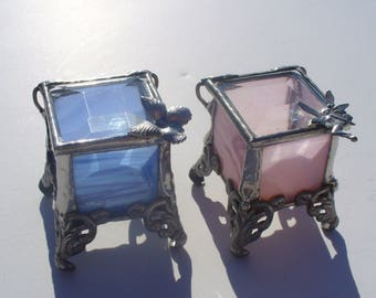 Tooth Fairy Boxes, Ring Boxes, Ring Box, Stained Glass Boxes, Lead-free, Your Choice of Color and Handle