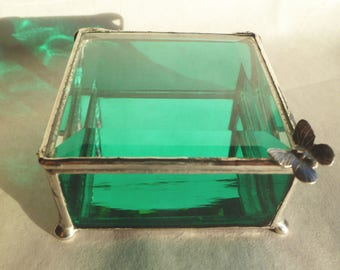 Teal Green, Stained Glass Box, Jewelry Boxes, Keepsake Boxes - Choose Your Own Handle Style