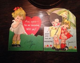 Vintage Pair of Valentines Umbrella