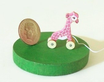 Pinky a Giraffe Pull Toy KIT Dollhouse Miniature