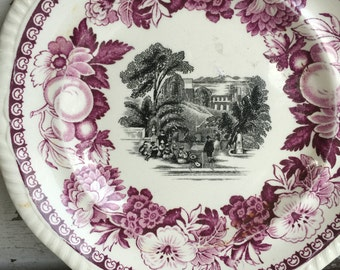 Antique Copeland Spode Purple and Black Transferware Plates - As Is