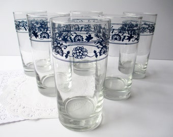 Vintage Old Town Blue Tumblers Set of Six - Retro Decor