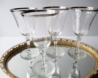 Vintage Wine Glasses Silver Trimmed Set of Four - Dorothy Thorpe Style