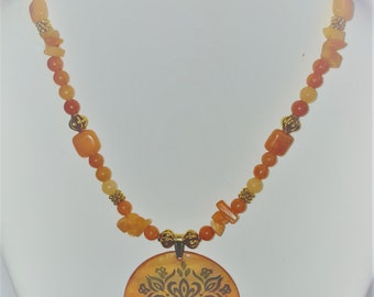 Carnelian and Gold necklace and earrings