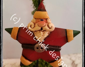 SANTA ORNAMENT rusty barn star original hand painted sculpted Christmas prim chick designs lisa robinson  ofg teamhaha