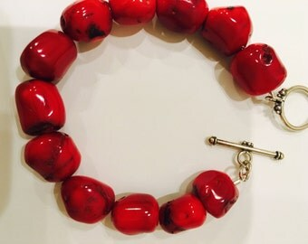Red Bamboo Coral Bracelrt