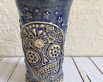 Ceramic Sugar Skull Cup - Ceramic Candy Skull Tumbler - Day of the Dead Cup - Dia De Los Muertos Cup - Stoneware Pottery Skull Drinking Cup