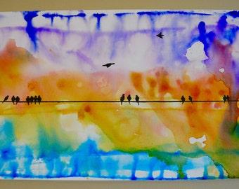 Summer Rain Birds on a Wire, Original Painting, oil and ink, Birds, Rain, Sunset, rainbow