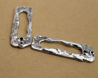 Rectangle Earring Components Sterling Silver Artisan TWO