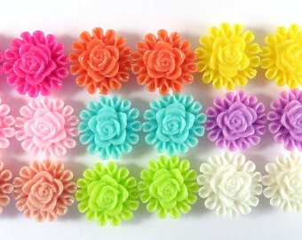 BOGO - 18 Flower Cabochon Resin Beads Assortment 13mm - No Holes - 18 pc - CA2012-AS20 - Buy 1, Get 1 Free - No coupon required