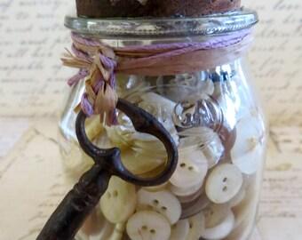 Old SPEGA Glass Jar With Vintage Buttons & Skeleton Key-Old Bottles