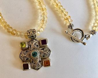 Citrine Necklace With Multi Gemstone Bali Silver Pendant