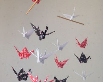 """SALE 30% OFF - 14 Small Origami Cranes Mobile - Red White and Black, folded from 3"""" Washi Chiyogami and Solid Origami, Home Decor, Kawaii"""