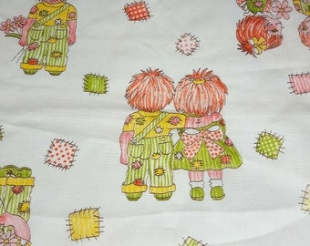 """vintage 70s novelty fabric remnant, featuring cute patchwork kids, 46"""" x 25"""""""