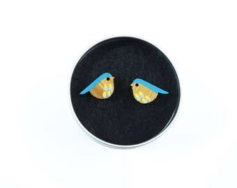 Bird Studs, Wooden Earrings, Bird earrings, Bird Jewellery, Blue Birds, Bird Gifts, Blue Tit, Gift for Her,