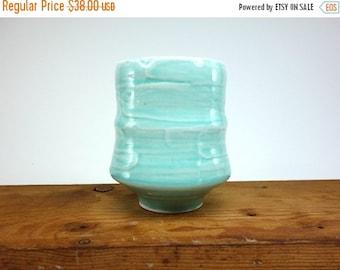ON SALE Aquamarine glazed tall porcelain tea bowl with brushed slip texture